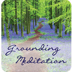 Trees with a path, text: free grounding meditation